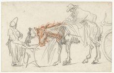 Twee paarden bij een halteplaats, Rembrandt Harmensz. van Rijn, ca. 1637