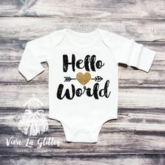 Hello World Baby Girl Clothes Coming Home by ShopVivaLaGlitter