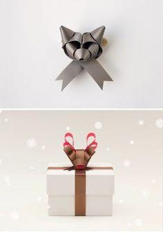 DIY Ribbon folding - animal shapes as in origami but with ribbon! Holiday Crafts, Holiday Fun, Fun Crafts, Ribbon Art, Ribbon Crafts, Diy Ribbon, Ribbon Bows, Paper Ribbon, Homemade Gifts
