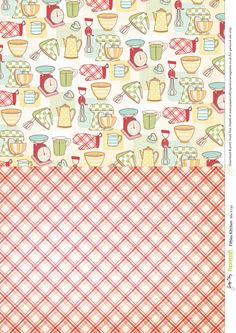 Make gorgeous cards with these free patterned papers and toppers, with a retro fifties kitchen theme. Printable Scrapbook Paper, Papel Scrapbook, Recipe Scrapbook, Printable Paper, Scrapbook Albums, Digital Paper Free, Free Paper, Digital Papers, Digital Scrapbooking