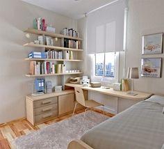 small bedroom teen bedroom furniture ideas desk floating shelves white rug table lamp