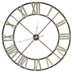Grande horloge murale cadre ferronnerie fer metal for Grande horloge murale fer forge