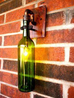 Wine Bottle Light Lamp Industrial Sconce Exterior by BSquaredInc, Lighted Wine Bottles, Bottle Lights, Industrial Lighting, Cool Lighting, Vintage Lighting, Bottle Art, Bottle Crafts, Beer Bottle, Bar Light Fixtures