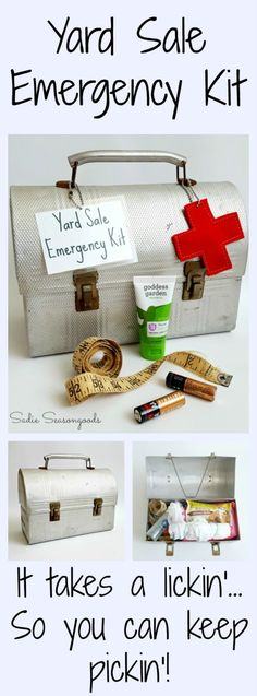 When I couldn't figure out how to repurpose a vintage metal lunch box, I decided to create a Yard Sale Emergency Kit, filled with everything I could possibly need to get the best stuff while bargain hunting. From sunscreen to batteries to bubble levels to measuring tapes, this kit has it all- perfect for flea markets and junk shopping. #SadieSeasongoods / www.sadieseasongoods.com