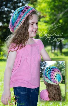 RTS Child Crystalized Star Slouch Hat Pastel Rainbow by Crystalized Designs $20 +Shipping