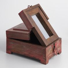 Wood Barber Box with Mirror - v3