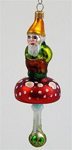 Elf on Mushroom  Blown Glass Christmas Ornament *** Want additional info? Click on the image.