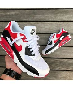 3b4490d69d1 Buy the latest fashion Nike Air Max 90 Essential White Black Wolf Grey  University Red Men s Shoes to enjoy the best Discounted price.
