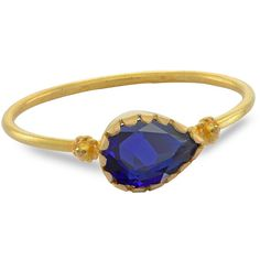 Emma Chapman Jewels - Grecian Gold Blue Sapphire Ring (3.855 DKK) ❤ liked on Polyvore featuring jewelry, rings, pear cut ring, yellow gold stackable rings, blue sapphire ring, gold stacking rings and wide rings