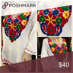 New Embroidered Blouse Top Tunic Floral Design New, super soft fabric 100% cotton, gorgeous intricate embroidery, vibrant colors! Slits in both sides, very neck, 3/4 sleeves. Size XL Cielito Lindo  Tops Tunics