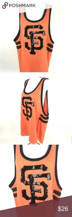 9465dde7d V.S. Pink San Fransico Giants tank Victoria Secret PINK Sequin San Francisco  Giants Orange Black Tank