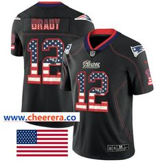 Nike New England Patriots #12 Tom Brady Black Men's Stitched NFL Limited Rush USA Flag Jersey