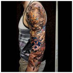 3 4 Sleeve Tattoo, Quarter Sleeve Tattoos, Tattoo Sleeve Designs, Back Tattoo, Tattoo Designs Men, Pretty Hand Tattoos, Cool Tattoos, Awesome Tattoos, Japanese Tattoo Designs