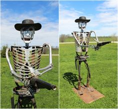 Robot Bounty Hunter made by J.R. Hamm. Created from Recycled scrap metal
