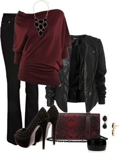 Black and Cranberry Glamour Rock Chic! ... So fun!
