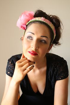 Silk Couture Rose Headband with silk ribbon embroidery.