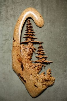 Tree wood carving by Gary Burns on Etsy Tree Carving, Wood Carving Art, Wood Carvings, Art Sculpture, Driftwood Sculpture, Soapstone Carving, Wood Creations, Wooden Art, Pyrography