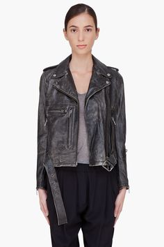 R13 Faded Black Leather Moto Jacket would look awesome with one of my scarves