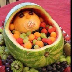 Baby shower fruit basket <3