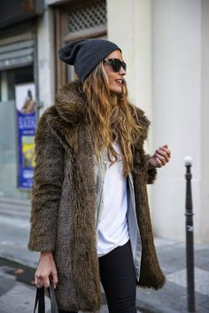 LE FASHION BLOG WINTER LAYERS STELLA WANTS TO DIE BLOGGER STYLE GREY BEANIE HAT FLAT TOP BLACK SUNGLASSES VINTAGE FUR COAT GREY CHAMBRAY DEN...