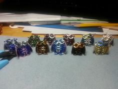 Tiny Chainmail owl pendants. Choose your own colors. Am original design by me. :-) $12 each, including chain.