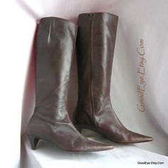 d9fd1febbcc Vintage ITALIAN Leather Knee Boots   Size 7 m Eu 37 .5 UK 4 .5   Kitten Heel  Pointed Toe Dark Brown Zipper Closure   1990s Italy
