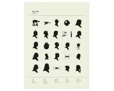Alphabet - Star Wars, Silhouettes Art Print  This is an 18 x 24 art print, hand screenprinted on thick French Paper Company Construction