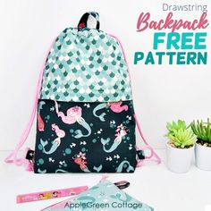 This might just be the best drawstring backpack pattern to sew! Make a cute diy backpack using this free backpack pattern - and see how to make a drawstring backpack with pockets! It's a great diy drawstring backpack for school and a perfect diy gym bag. Get the free backpack sewing pattern now! | Fabric: Ahoy! Mermaids by Melissa Mortenson for Riley Blake Designs Bag Pattern Free, Wallet Pattern, Bag Patterns To Sew, Tote Pattern, Sewing Patterns, Drawstring Backpack Tutorial, Drawstring Bag Pattern, Backpack Pattern, Drawstring Bags