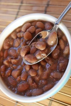 *2 lb. bag of dry pinto beans, 1 lb. cubed ham (95% fat free), 1T onion powder, 1T garlic powder, 9T sweet pickle relish, 9T chopped raw onion (sweet or white).  ***Directions*** Sort beans and soak overnight according to package directions. Drain and rinse beans in the morning. Combine in slow cooker with ham, onion powder, and garlic powder. Top with enough water to cover beans. Cook on low approximately nine hours, or on high four and a half hours (or until beans are tender).