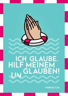 """Poster zur Jahreslosung 2020 – """"Ich glaube; hilf meinem Unglauben!"""" Bibelvers Markus 9,24"""