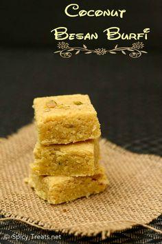 Spicy Treats: Coconut Besan Burfi Recipe | Besan Burfi With Coconut | Besan Burfi Diwali Sweet Recipe