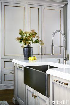 House Beautiful 2016 Kitchen of the Year brass custom paneled refrigerator