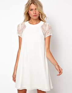 Lace shoulder swing dress