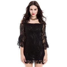 Sexy Flared Sleeve Boat Neck Lace Dress For Women