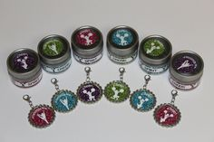 Cheerleading Team Gift - Cheerleading Party Favors - Favor Tins and Zipper Pulls - Free Customization - Set of 6 - Glitter Collection. $17.50, via Etsy.