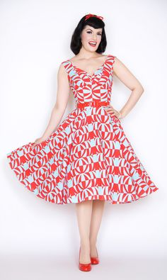 Saturday Night Pin Up Dress in Red & Blue Polynesian Print