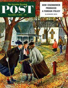 """""""Fall Gab Session"""" From November 7, 1953 - Constantin Alajalov"""