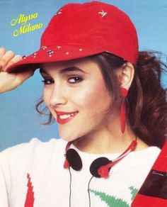 Pinup of Alyssa Milano wearing a red ballcap and a white, red & green sweater with headphones from 1987 issue of SuperStar magazine Allyssa Milano, Serie Charmed, Best Bride, Raquel Welch, Famous Movies, Grunge Hair, 20 Min, Young And Beautiful, Green Sweater