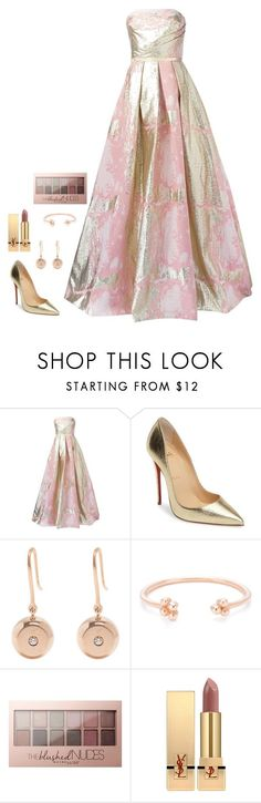 """Untitled #1068"" by h1234l on Polyvore featuring Notte by Marchesa, Christian Louboutin, Aurélie Bidermann, Maybelline and Yves Saint Laurent"