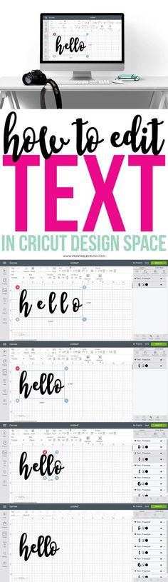 Learn how to edit text in Cricut Design Space with this simple tutorial. Once yo… Learn how to edit text in Cricut Design Space with this simple tutorial. Once you know how this, you'll be able to create gorgeous word art in design space! Cricut Air 2, Cricut Help, Cricut Vinyl, Cricut Ideas, Cricut Tutorials, Cricut Explore Projects, Cricut Explore Air, Tips And Tricks, Shilouette Cameo