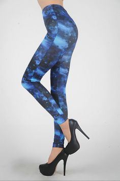 3cc4f6e4e3d2b Blue Galaxy Custom Print Leggings - Look amazing all the time! Great for  raves,