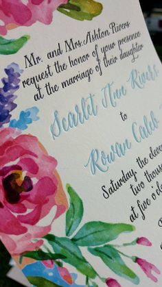 Watercolor Wedding Invitations for Rustic Garden Wedding, Letterpress and Watercolor, Floral Watercolor Invitations