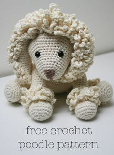 2000 Free Amigurumi Patterns: Poodle toy dog, looks like a lion to me, and i think its cute! Crochet Dog Patterns, Amigurumi Patterns, Amigurumi Doll, Stuffed Animal Patterns, Stuffed Animals, Toy Puppies, Crochet Animals, Crochet Dolls, Dog Toys