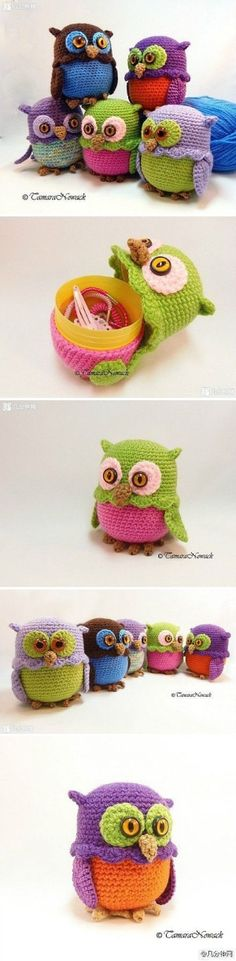 Owl crochet crochet handmade DIY storage box by DanaCS