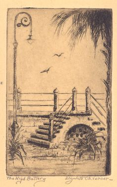 Etching, The High Battery, by Elizabeth O'Neill Verner. Charleston Museum