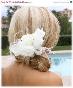 Bridal fascinator Bridal headpiece feather pearl by GlamDuchess, $68.25