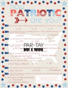 """Free printable July 4th """"how patriotic are you?"""" party game. Great quiz for your guests to make your party a blast. 4th Of July History, Independence Day History, 4th Of July Trivia, 4th Of July Games, 4th Of July Party, Fourth Of July, Kids Party Themes, Party Games, Trivia Games"""