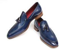 Paul Parkman Men's Tassel Loafer Blue Hand Painted Leather (ID#083)