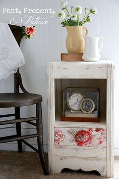 Annie Sloan Chalk Paint on a vintage waterfall nightstand