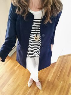 Love the polished, yet relaxed look. Cabi clothing  Lido jacket, first mate tee,  destructed slim boyfriend jean,  helios necklaces Spring 2016